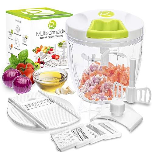 RIGUTTO® Premium Zwiebelschneider mit Seilzug [Mehr als 7 Funktionen] + Gemüse E-Book - Verbessertes Konzept I Zerkleinerer & Zwiebelhacker Manuell I 900ml