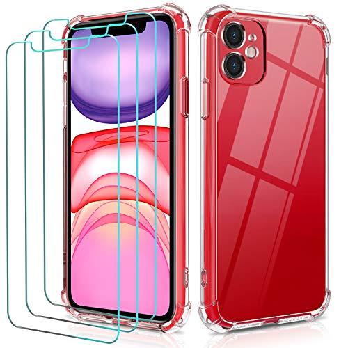 ivoler Funda para iPhone 11 6.1 Pulgadas con 3 Unidades Cristal Templado, Carcasa Protectora Anti-Choque Transparente, Suave TPU Silicona Caso Delgada Anti-arañazos Case