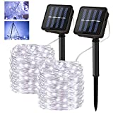 Innoo Tech - Cadena de luces solares para exteriores, 12 m, 120 ledes, 8 modos, resistente al agua, alambre de cobre, para jardín, balcón, terraza, puerta, patio, boda, fiesta