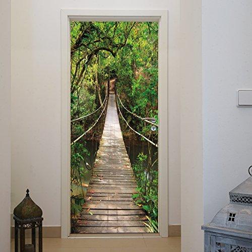 Murimage deurbehang hangbrug 86 x 200 cm brug oerwoud groene rivier fotobehang bos behang natuur jong badkamer fotobehang inclusief behanglijm