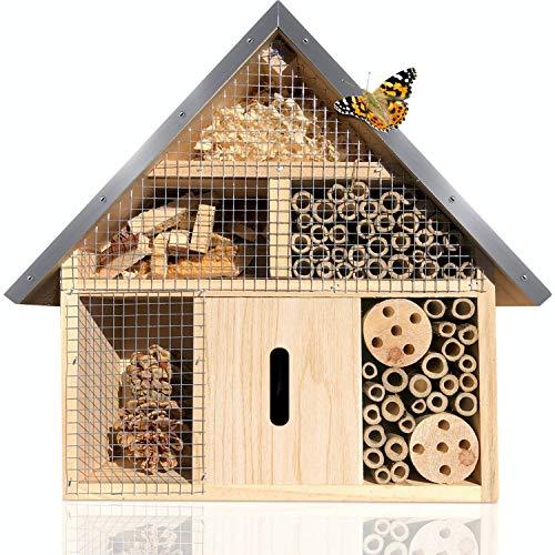 deinTierhaus | Hotel de insectos hecho de madera de pino con techo de metal -Albergue y Refugio 24x8x29 cm|Caja nido colgante para abejas mariquitas mariposas y demás insectos beneficiosos