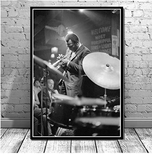yhnjikl Miles Davis Blue Jazz Music Album Pop Star Impresiones de Carteles Arte de la Pared Pintura al óleo Lienzo de Pared Cuadros para la Sala de Estar Decoración para el hogar 40X60 CM Sin Marco