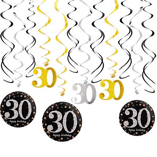 Spiralen Girlande Wirbel Deko, 30 Jahre Geburtstag Partydeko Schwarz Gold Folie Happy Birthday Banner für Cheers zum Hochzeit Silvester oder Karneval
