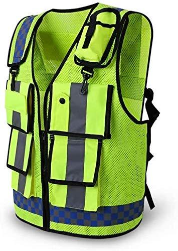 Fitnessgeräte Abnehmen Sicherheitswesten High Visibility Reflektierendes Mesh-Arbeitskleidung Weste Jacke Taschen 2 Haken Entwurf Breath trifft Standards for BAU-Mechaniker Elektriker