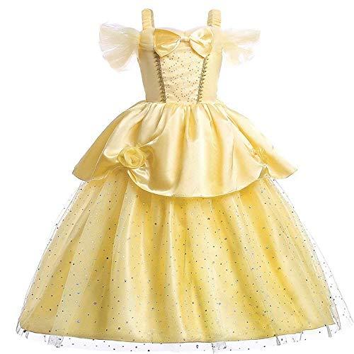 Disfraz de Princesa Belle para niñas, con Capas, para Vestir (5-6T)