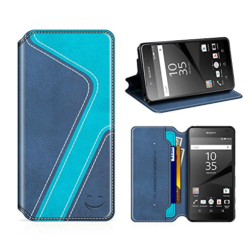 MOBESV Smiley Sony Xperia Z5 Hülle Leder, Sony Xperia Z5 Tasche Lederhülle/Wallet Hülle/Ledertasche Handyhülle/Schutzhülle mit Kartenfach für Sony Xperia Z5, Dunkel Blau/Aqua