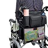 JiAODIE Mochila para silla de ruedas, tela Oxford, bolsas impermeables para almacenamiento organizadores para sillas de ruedas eléctricas, patinete eléctrico o caminador (negro)
