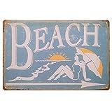 [ファン] Fun! ブリキ看板 BEACH ポスター インテリア 海 夏 ハワイアン サインボード