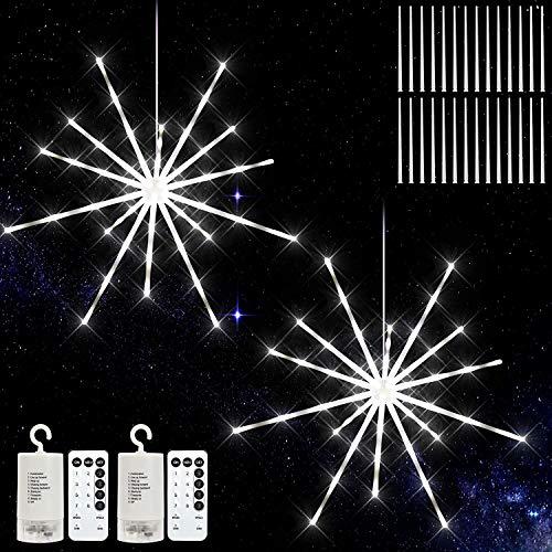 Feuerwerk Lichterketten, Meteor Feuerwerk Lichterketten, Starburst Lichter Feuerwerk LED Licht Kupferdraht Feuerwerk Lichter Weihnachten Zeichenfolge 8 Modi mit Fernbedienung