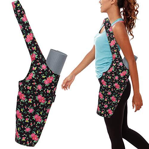 LISH Ashtanga Yoga Mat Tote Sling Carrier  Exercise Mat Carry Bag w/Adjustable Strap and Storage Pockets Black