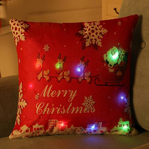 Elogoog Christmas Pillow Case New Creative LED Lighting Cotton Linen Decorative Flashing Cushion Cover for for Sofa Home Decor 17' x 17' (17 x 17 inches, F)