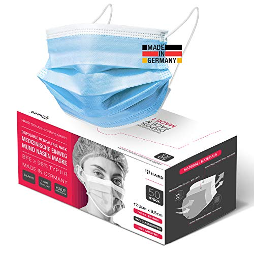 HARD 50x Medizinischer Mundschutz, Made in Germany, OP-Maske TYP IIR, CE zertifiziert EN14683, BFE 3-lagig 99,78% schützende Mund-Nasen-Bedeckung, Einweg-Gesichtsmasken Erwachsene - Blau