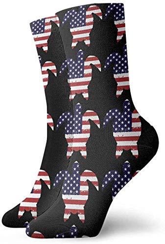 Tammy Jear Turtle Flag America Chaussettes courtes pour hommes Chaussettes habillées Chaussettes de sport