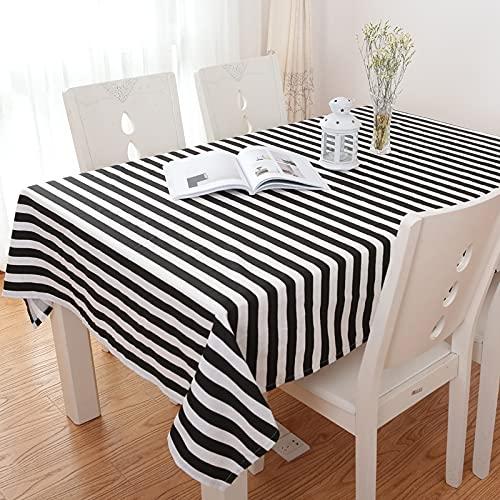NHhuai fácil de Limpiar, para jardín, Habitaciones, decoración de Mesa, Rombo de Rayas Blanco y Negro Simple