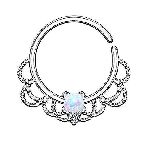 Piercingfaktor Piercing Ring Continuous Tribal mit Opal Ohr Nase Lippe Brust Intim Septum Tragus Helix Hufeisen Horseshoe Silber Weiß