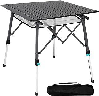 Mesa de camping plegable con tablero de aluminio, ligera, plegable, portátil, con bolsa de transporte, 70 x 70 cm, mesa pl...