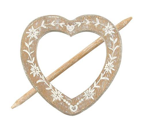Raffhalter Gardinenspange Holz Herz mit Gravur und separatem Stift, Farbe wählbar (Sand)