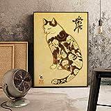 Cuadro En Lienzo,Estilo Japonés Arte Pared Pintura Cuadros, Gato Esqueleto, No Tejido Sin Marco Cartel Mural Foto, Impresión En Lienzo La Imagen para La Sala De Estar Decoración De La Casa,31.5 *