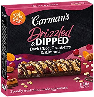 Carman's Drizzled and Dipped Dark Choc, Cranberry & Almond Bar, 6-Pack (210g)