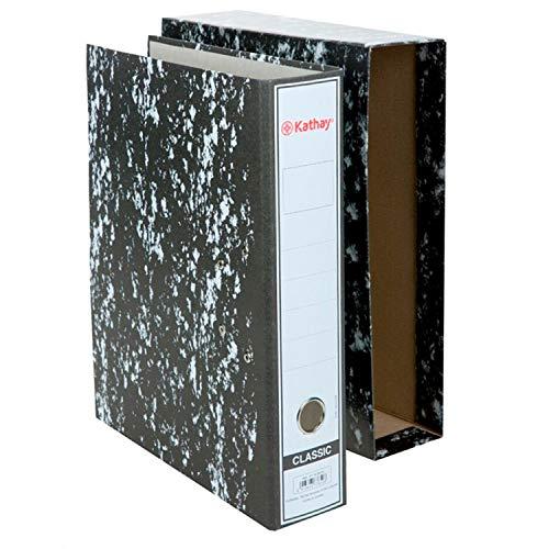 Kathay 7168600. Archivador AZ con Caja, Tamaño Folio, Con Ollao, Mecanismo de Palanca, Lomo 65mm, Papel Jaspeado