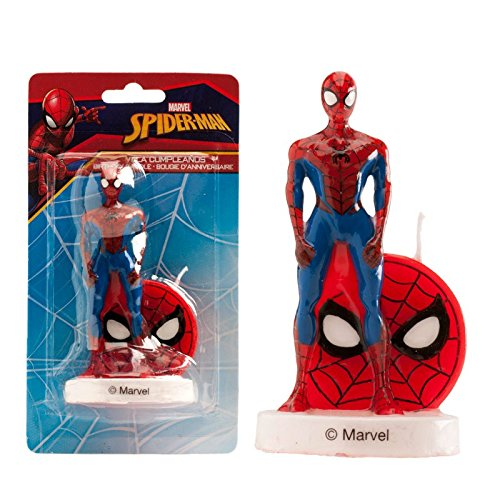 Bougie Spiderman Debout sur Socle Blanc - Gâteau Anniversaire Enfant - 210