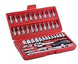 "MAF India Professional Tools Drive Socket Set, 46 Pcs Spanner Socket Set 1/4"""