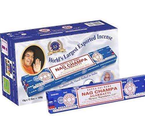 Nag Champa Satya Sai Baba Bâtons d'encens de qualité supérieure pour purification, relaxation, positif, yoga, méditation 180 g