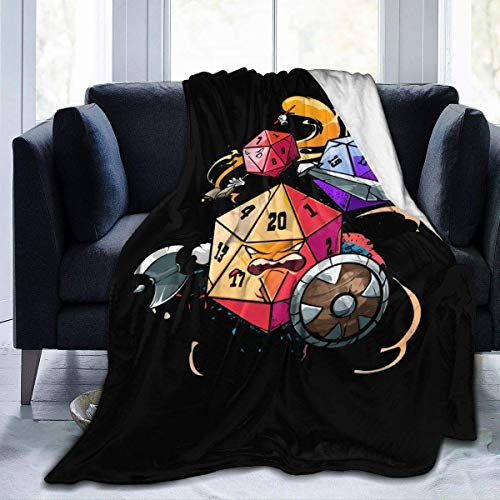Manta de microfibra de lana de Dungeons and Dragons Dices, ultra suave, reversible, de lujo, 152 x 127 cm