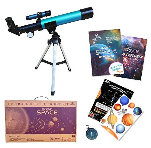 Qurious Space Kid's Explorer Telescope Gift Kit w Eco Case 1650   Children & Astronomy Beginners   Moon Telescope   Tabletop Tripod   Compass   Glow-in-The-Dark Stickers   Science Education