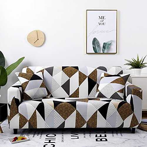 WXQY Fundas geométricas elásticas Funda de sofá elástica con protección para Mascotas Funda de sofá Esquina en Forma de L Funda de sofá Antideslizante A21 4 plazas