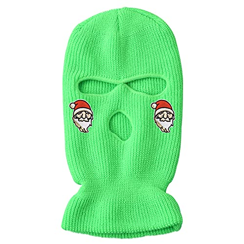 3-Hole Knitted Full Face Cover Colored Ski Mask Cycling Outdoor Pullover Hat Adult Winter Balaclava Wool Hat (Christmas Green, One Size)