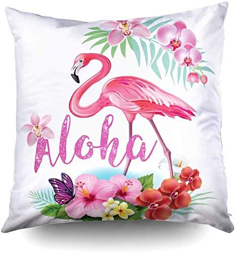 Fundas de almohada de sofá, diseño de flores tropicales y flamencos, 40,6 x 40,6 cm, fundas de almohada decorativas cuadradas para sofá o dormitorio