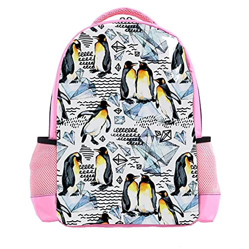 Girl Pink Backpack Women Shoulder Bags College Bookbag Travel Rucksack Watercolor Penguin Diamond Pattern