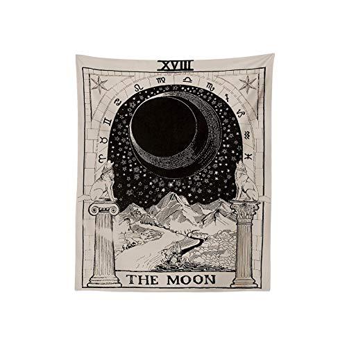 Tarot Tapestry ,Tapiz de altar de tarot para colgar en la pared con imagen de la luna, las estrellas y el sol; para colgar en la pared, The Moon Tapestry