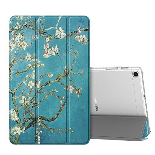 Fintie Hülle für Samsung Galaxy Tab A 10,1 SM-T510/T515 2019 - Superdünn Schutzhülle mit durchsichtiger Rückseite Abdeckung Cover für Samsung Galaxy Tab A 10.1 Zoll 2019 Tablet, Mandelblüten