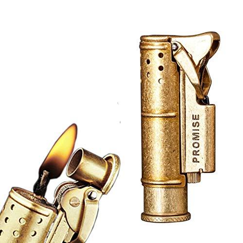 PROMISE Einzigartiges BenzinFeuerzeug im Vintage Look Feuerzeug alt zum nachfüllen Vintage Messing Feuerzeug Antikes Grabenfeuerzeug Trench Benzinfeuerzeug