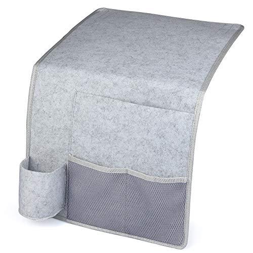 HOGAR AMO Betttasche Filz Bett-Caddy-Organizer mit Flaschenhalter Sofa Hängeaufbewahrungstasche für Handy, iPad, Brille, Fernbedienung 32 x 36cm (Grau)