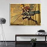 WDQFANGYI Attack On Titan Poster Japanese Anime Prints Room Bar Sala De Estar Dormitorio Decoración del Hogar 50X70Cm (FLL6728)