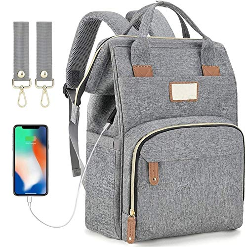 Baby Bottle Diaper Backpacks, Mommy Baby Bag, Waterproof Oxford Style Large Capacity Diaper Bag, with Portable Changing Table and 2 Pieces Baby Carriage Hooks (Dark Gray) (Color : Gray)