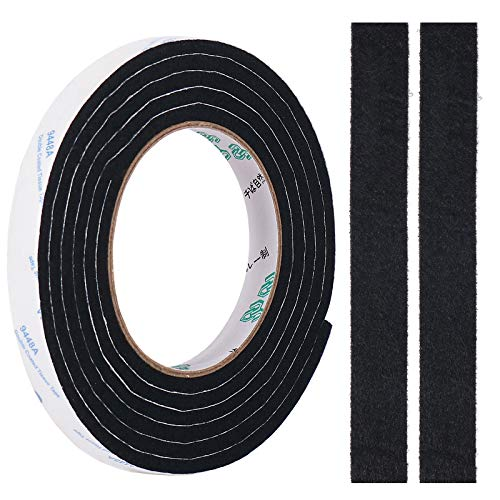 Filzband, 5mm Dickes DIY Filzstreifen Selbstklebend Rolle in Jede Form Geschnitten, um Ihren Hartholz und Laminatboden zu Schützen, 0,5 'x 78,7' (Schwarz)