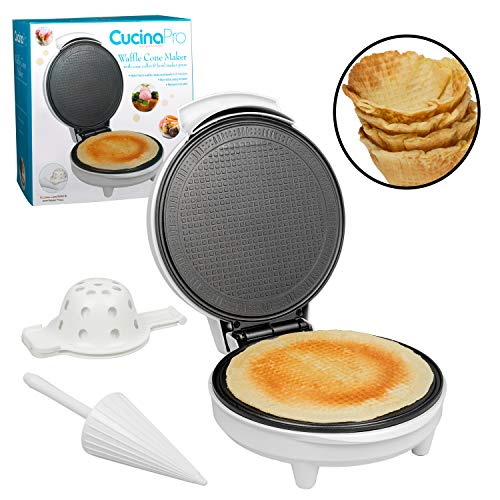Waffle Cone and Bowl Maker- Includes Shaper Roller and Bowl Press- Homemade Ice Cream Cone Iron Machine - Summer Gift Giving or Entertaining Fun