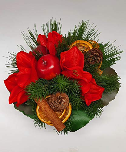 Weihnachtsstrauß Nr.26 - Strauss künstlich mit Amarillis Äpfel Zapfel Zimtstangen Apfelsinen Winter - Blumenstrauss Weihnachten Liegestrauß Seidenblumen