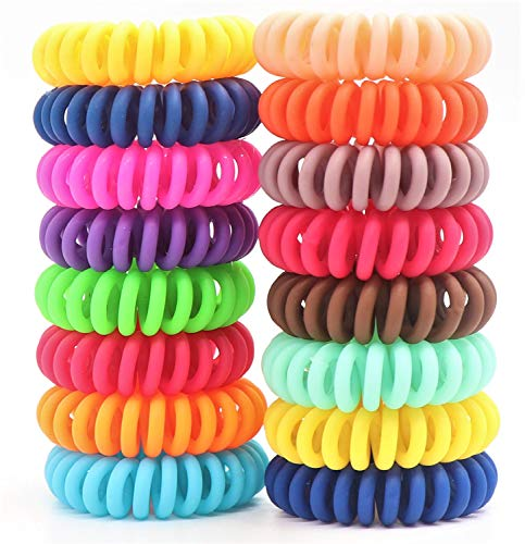 79STYLE 50Pcs Spiral Hair Ties No Crease Coil Hair Ties Matte Hair Coils Spiral Phone Cord Ponytail Holder For Girls Women (50ocs Candy Mix Colors -Matte Small Size)