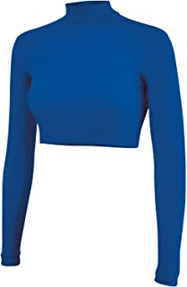 Cropped Cheer Bodysuit - Long Sleeve Cheerleading Turtleneck Crop Top - 100% Nylon Stretch Body Suit For Cheerleaders