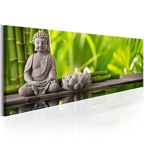 murando - Bilder 135x45 cm Vlies Leinwandbild 1 TLG Kunstdruck modern Wandbilder XXL Wanddekoration Design Wand Bild - Natur Babmus Feng Shui Buddha Kerze Spa grün b-B-0207-b-a