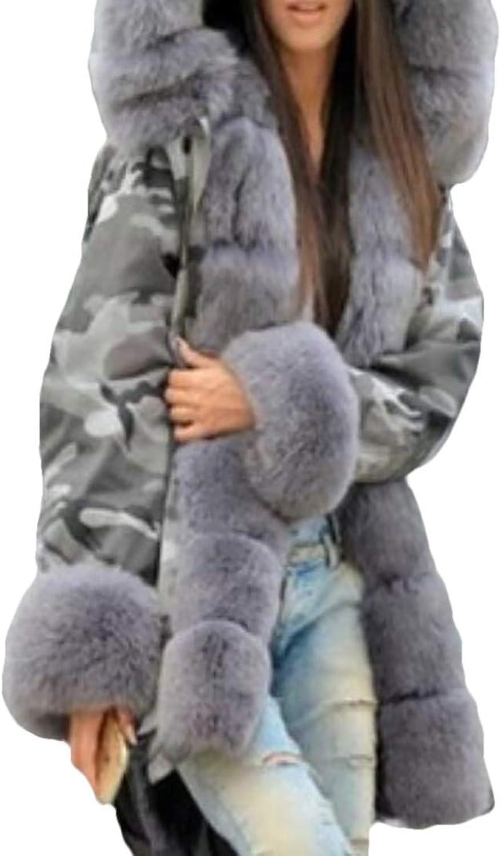 BU2H Women Thicken Warm Camouflage Fur Faux Hooded Long Parka Jacket