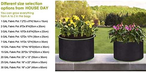 10unidades ,15 Galones HOUSE DAY Bolsa de Cultivo con Asas de Tela no Tejido Saco para Plantas Maceta de Cultivo para jardiner/ía