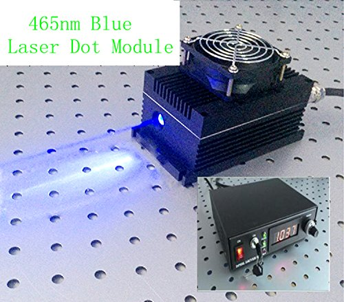 Industry/Lab High Power 465nm 5W 5000mW Blue Laser Dot Module + Analog 0-30KHZ + TEC Cooling 85-265V + Lab Adjustable Digital Power Supply LSR-PS-FA