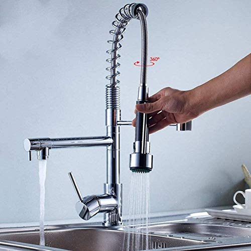 Kitchentap Best Quality Chrome Finish Solid Brass Kitchen Faucet Swivel Spout Spring Vessel Sink Mixer Tap Single Handle Hole