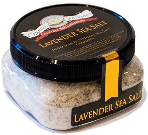 Lavender Sea Salt - All Natural Unrefined Sea Salt Infused with French Lavender - No Gluten, No MSG, Non-GMO - Cooking and Finishing Salt - 4 oz. Stackable Jar